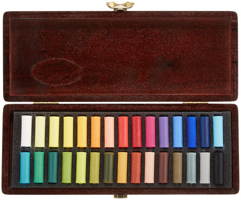 Royal Talens Rembrandt Artists' Soft Pastels, Wood Box Set of 30 Half Pastels, Assorted Colors (31814115)