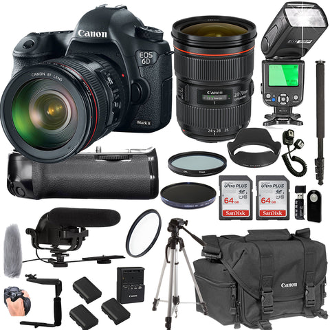 Canon EOS 6D Mark II with 24-70mm f/2.8 L II USM Lens + 128GB Memory + Canon Deluxe Camera Bag + Pro Battery Bundle + Power Grip + Microphone + TTL Speed Light + Pro Filters,(23pc Bundle)
