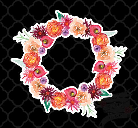 Coral Rose Wreath Decal