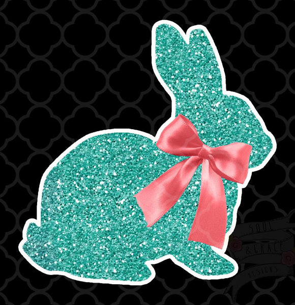 Glitter Bunny Bow-Decal