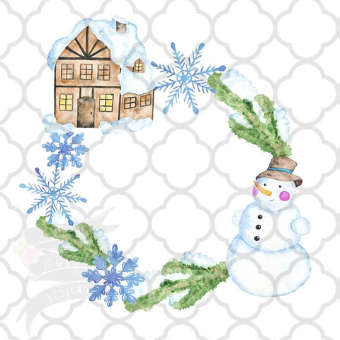 Watercolor Snowman Wreath