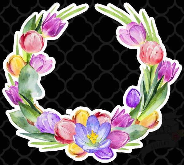 Tulip Wreath Decal