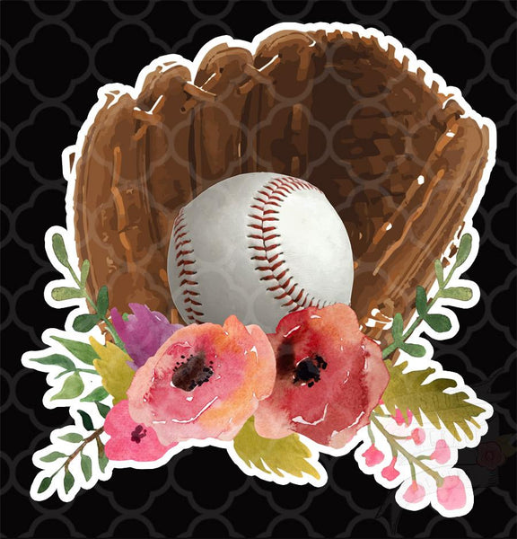 Baseball Glove Floral-Decal