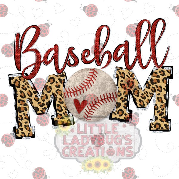 Baseball Mom Leopard HTV Transfer