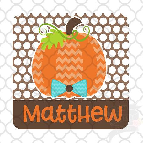 Boy Chevron Pumpkin Square