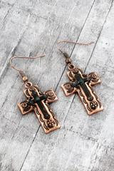 Burnished Coppertone with patina accents Layered Cross Earrings