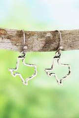 Burnished Silvertone Texas State Earrings