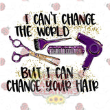 I Cant Change the World but I Can Change Your Hair HTV Transfer