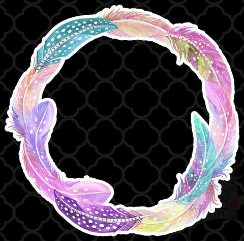 Feather Wreath Decal