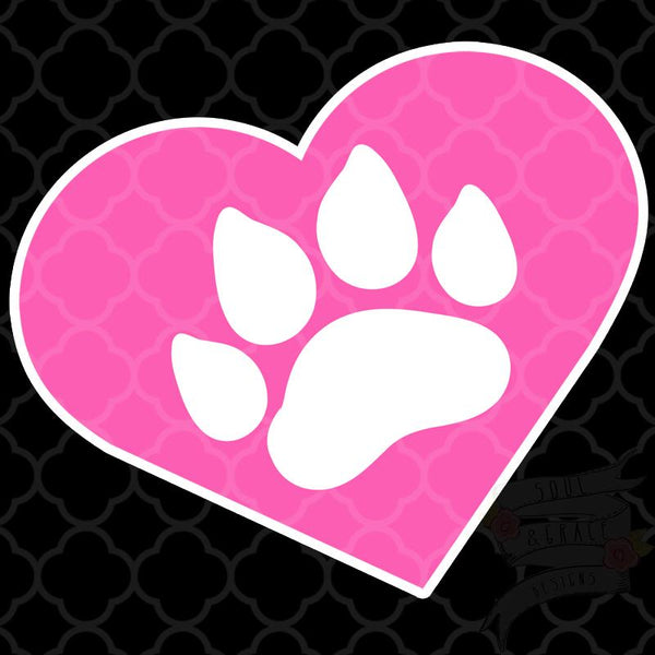 Heart Paw Print Decal