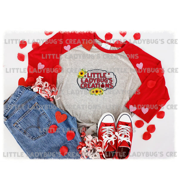 Red Raglan Valentine Digital Mock-Up JPEG