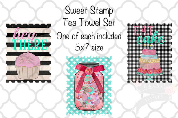 Sweet Stamp Kitchen Tea Towel Set