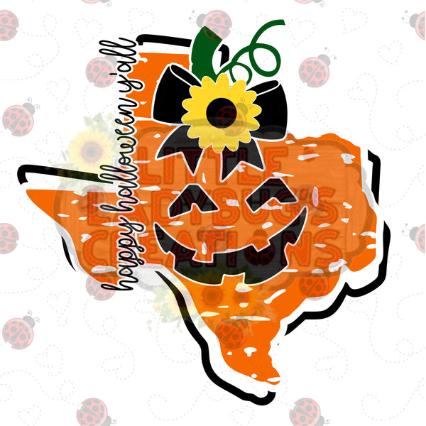 Texas Pumpkin Jack o Lantern HTV Transfer *Other States available*