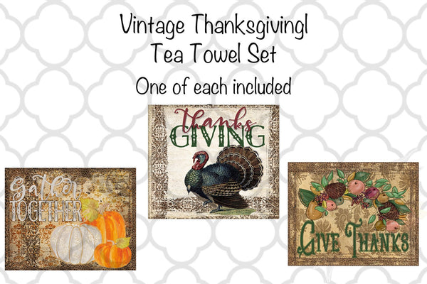 Vintage Thanksgiving Kitchen Tea Towel Set