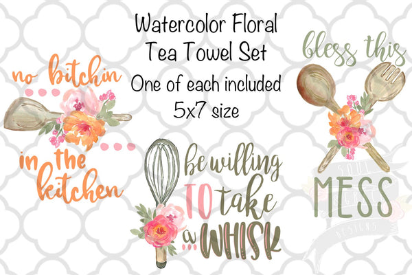 Watercolor Floral Kitchen Tea Towel Set