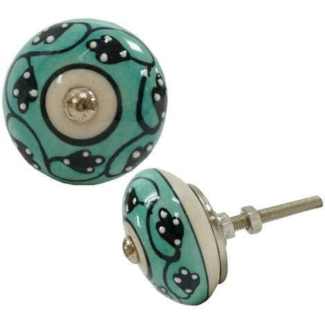 Patterned Leaf Knob - White & Teal