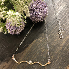 Brass Multi Curve and Silver Ball Necklace