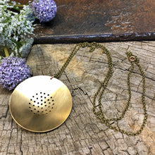 Long Pierced Brass Necklace