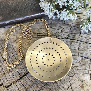 Pierced Brass Shield Necklace Style 2