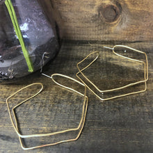 Large Brass Pentagon Double Hoop Earrings