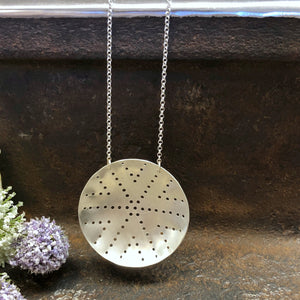 Pierced Silver Shield Necklace Style 1