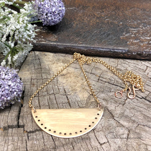 Pierced Brass Half Circle Necklace