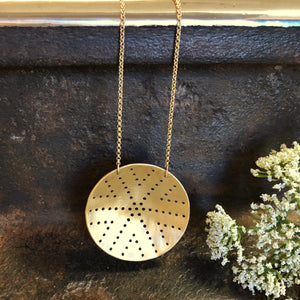 Pierced Brass Shield Necklace Style 1