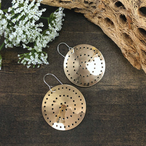 Pierced Brass Shield Earrings Style 2