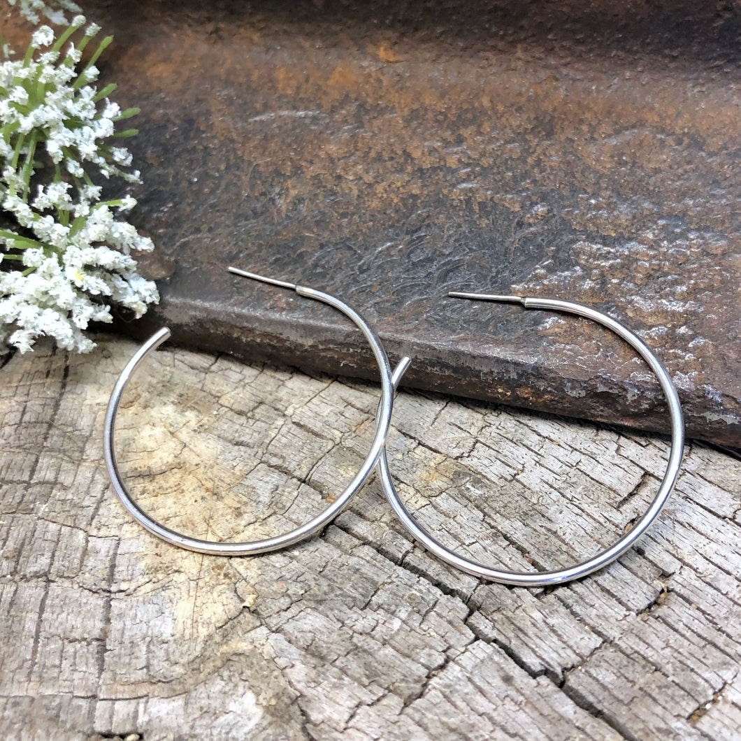 Medium Silver Hoop Earrings