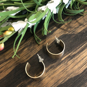 Small Wide Brass Hoop Earrings