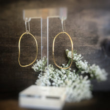 Brass Curved Oval Earrings