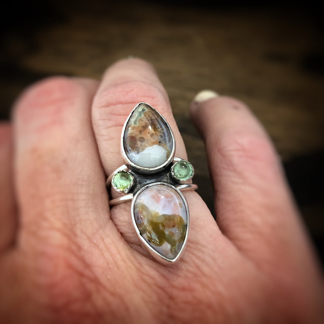 Ocean Jasper and Tourmaline Ring