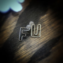 Small Brass FU Earrings
