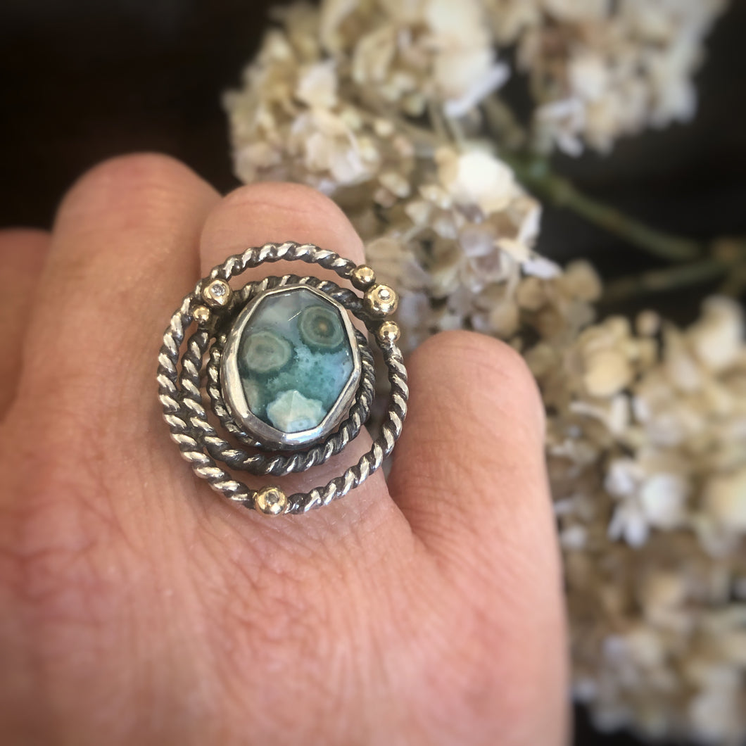 Silver  and Gold Green Ocean Jasper Ring