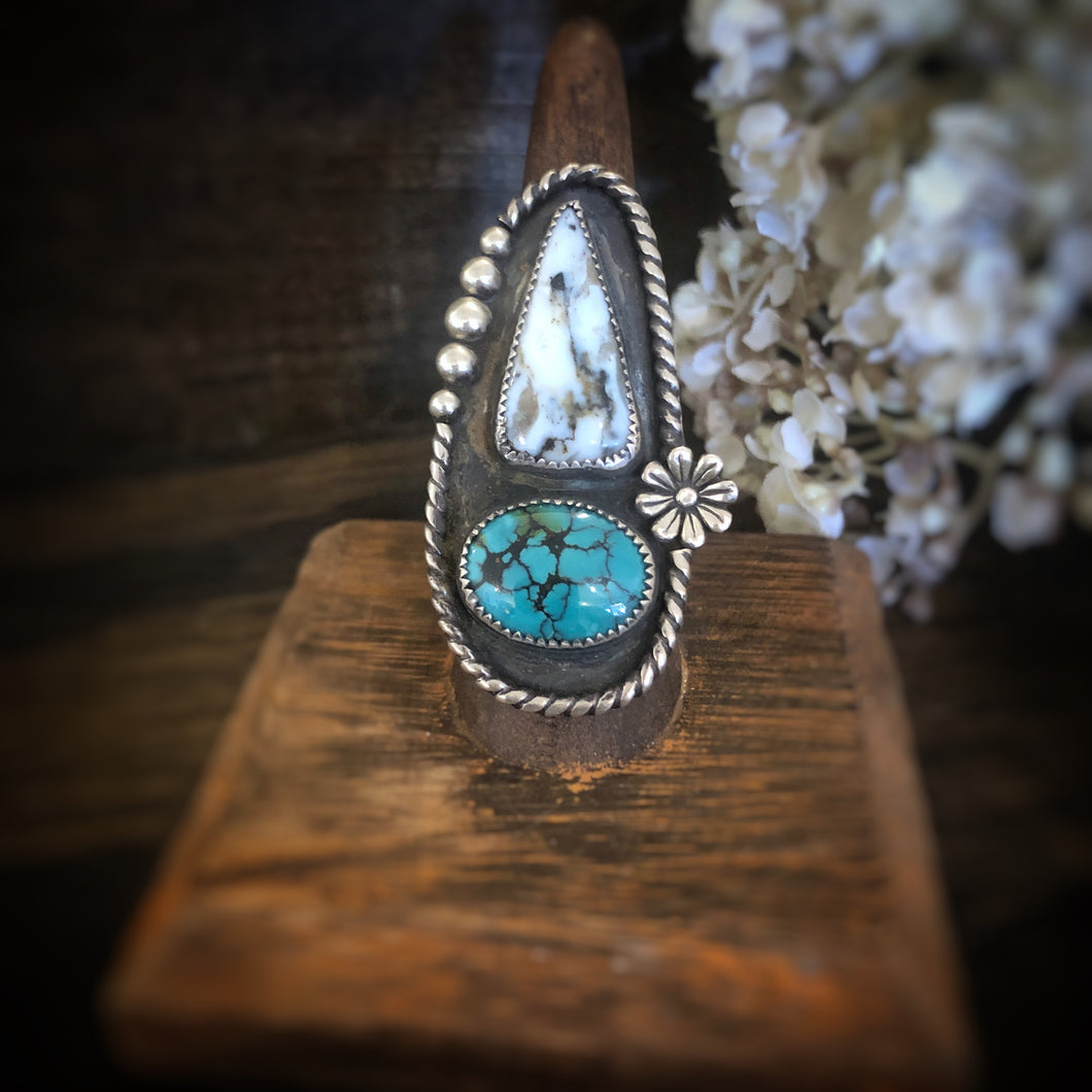 Turquoise and White Buffalo Ring