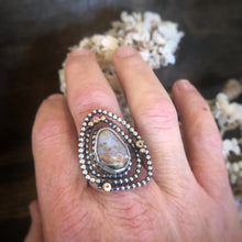 Silver and Gold Ring with Ocean Jasper and Peach Topaz