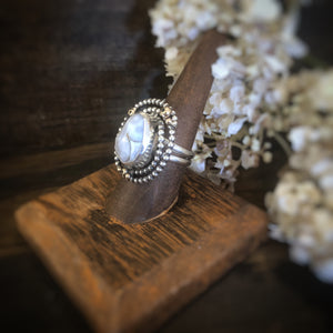 Silver and Gold Ring with White Ocean Jasper and Black Spinel