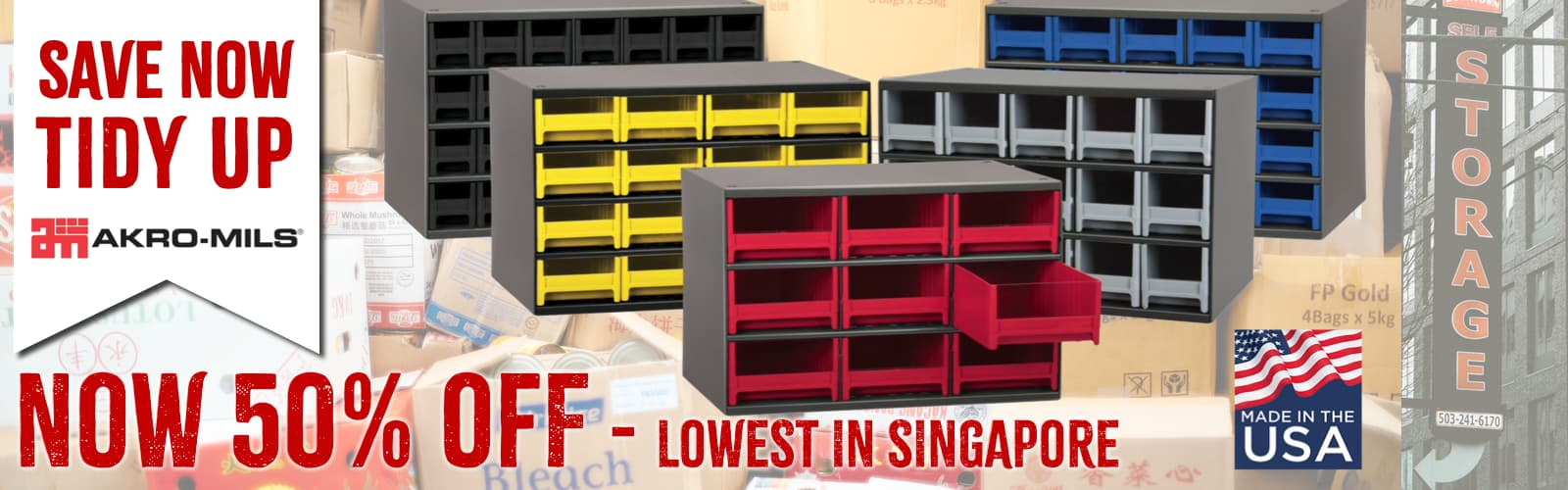 Akro-mils lowest prices in Singapore for storage solutions