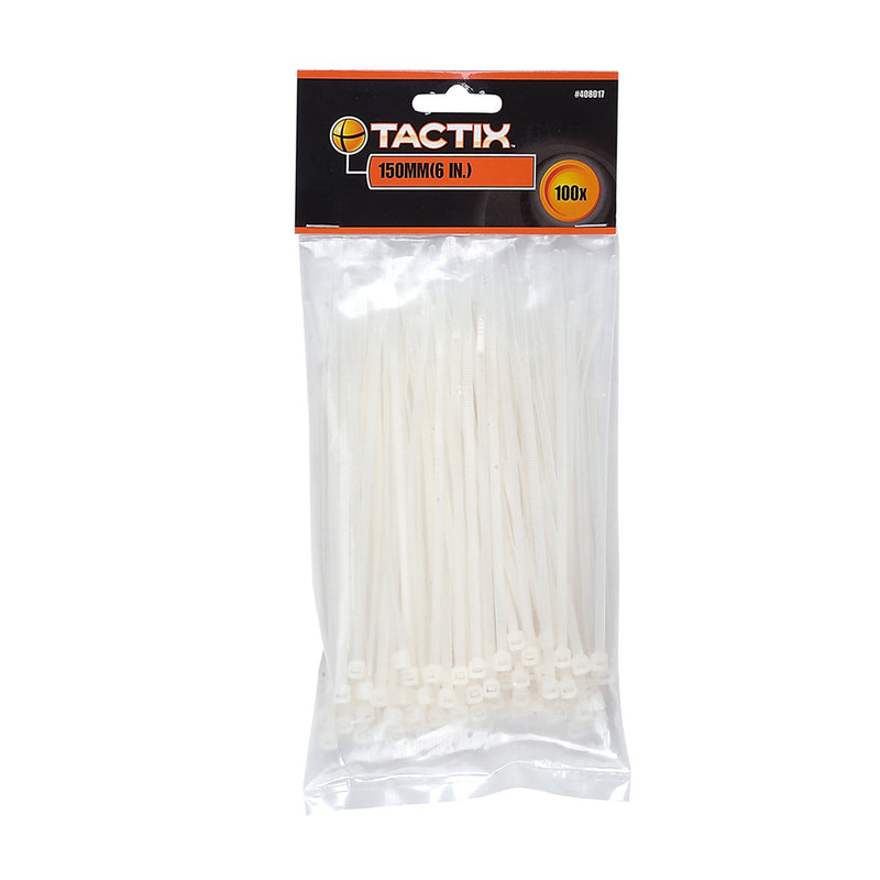 Tactix Cable Tie White 3.7X200mm (100Pcs)