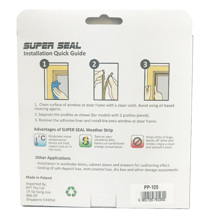 SuperSeal D-Profile White 9X7.5mm(2X2.5M)