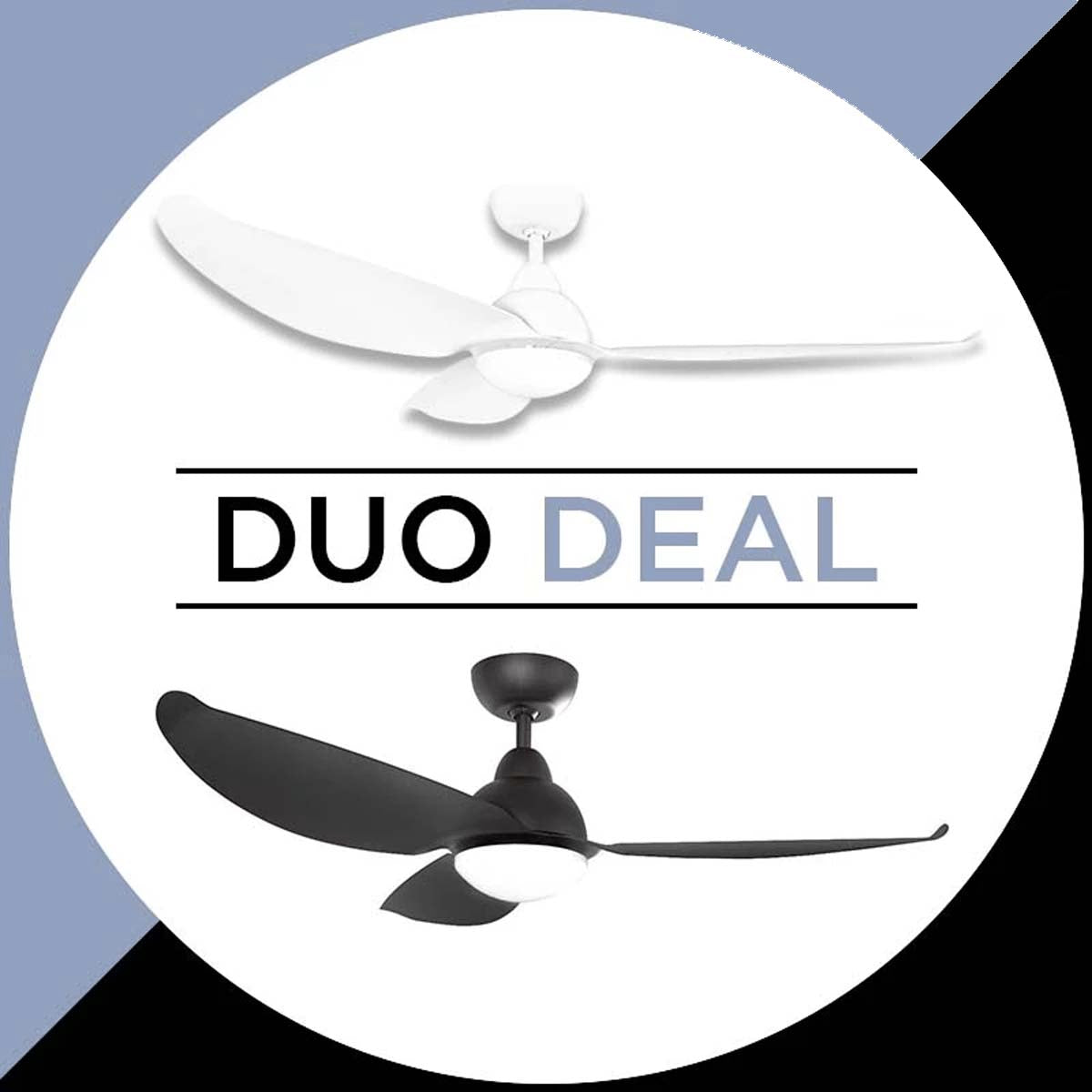 "Alaska Ceiling Fan Hawk 49"" Solid Colour Duo Deal"