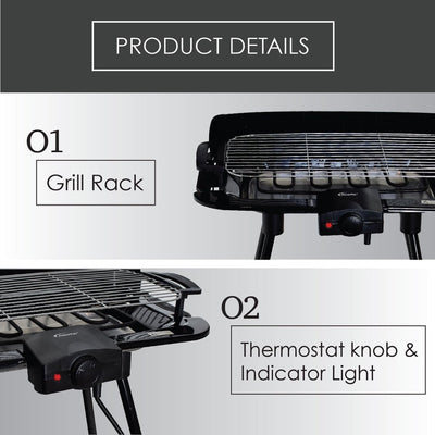 PowerPac Electric BBQ Barbecue Grill (PPQ2020)