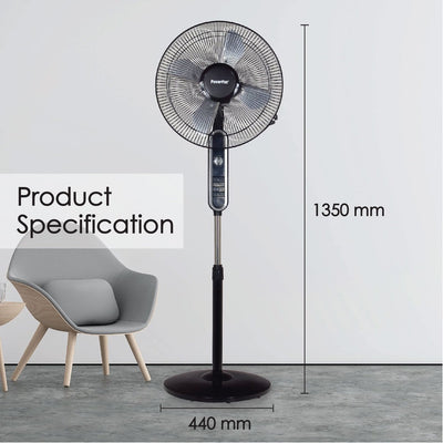 "PowerPac 16"" Electric Stand Fan with Metal Blades (PPFS616)"
