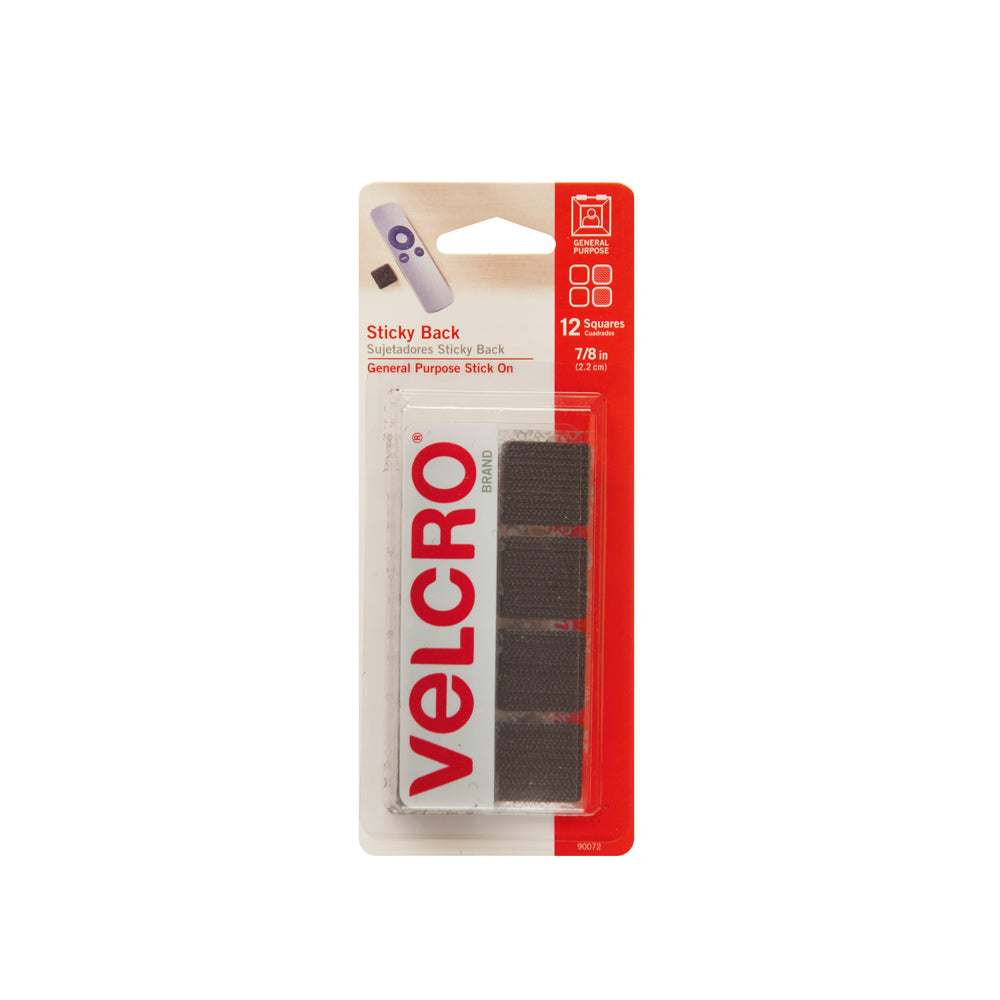"Velcro Sticky Back 7/8"" Square Black 12 Sets"