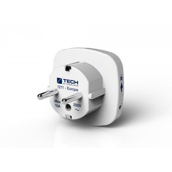 Travel Blue World To Europe Adapter - White