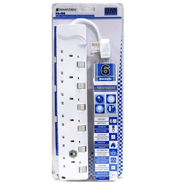 Soundteoh 6 Way Extension Socket 3M