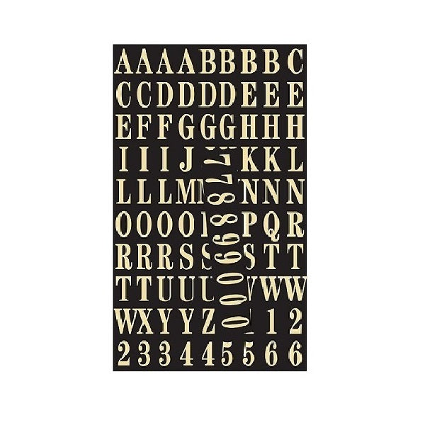"Hy-Ko Self-Stick Number And Letter 1"" Black/Gold"