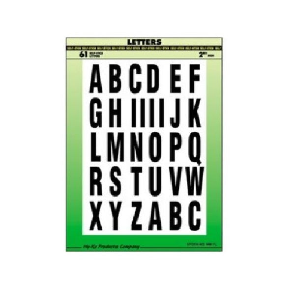 "Hy-Ko Self-Stick Letter And Symbols 2"" Black/White"