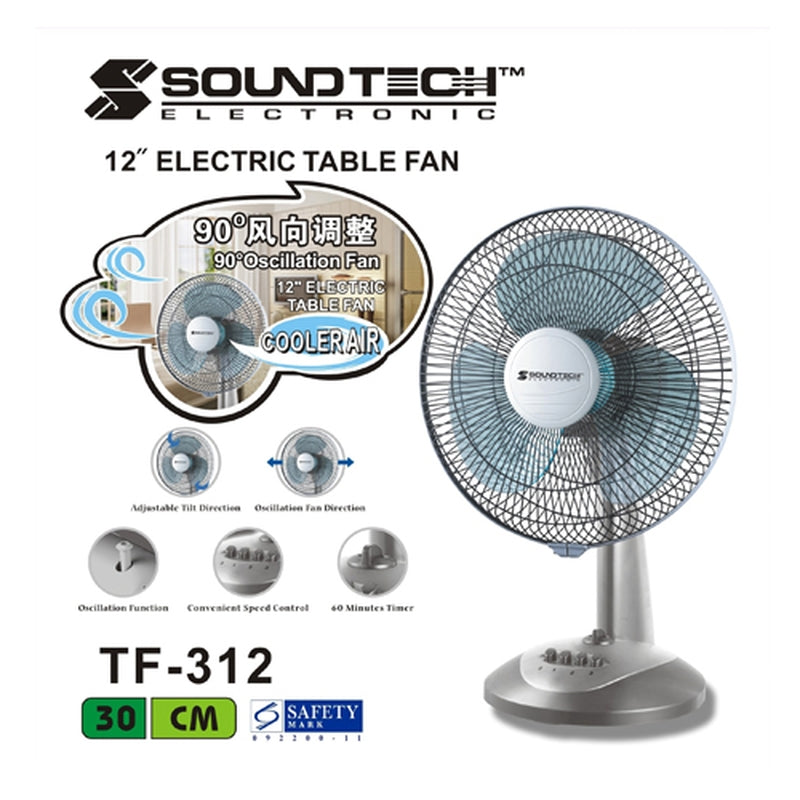 "Featured Product Photo for Soundteoh 12"" Electric Table Fan"