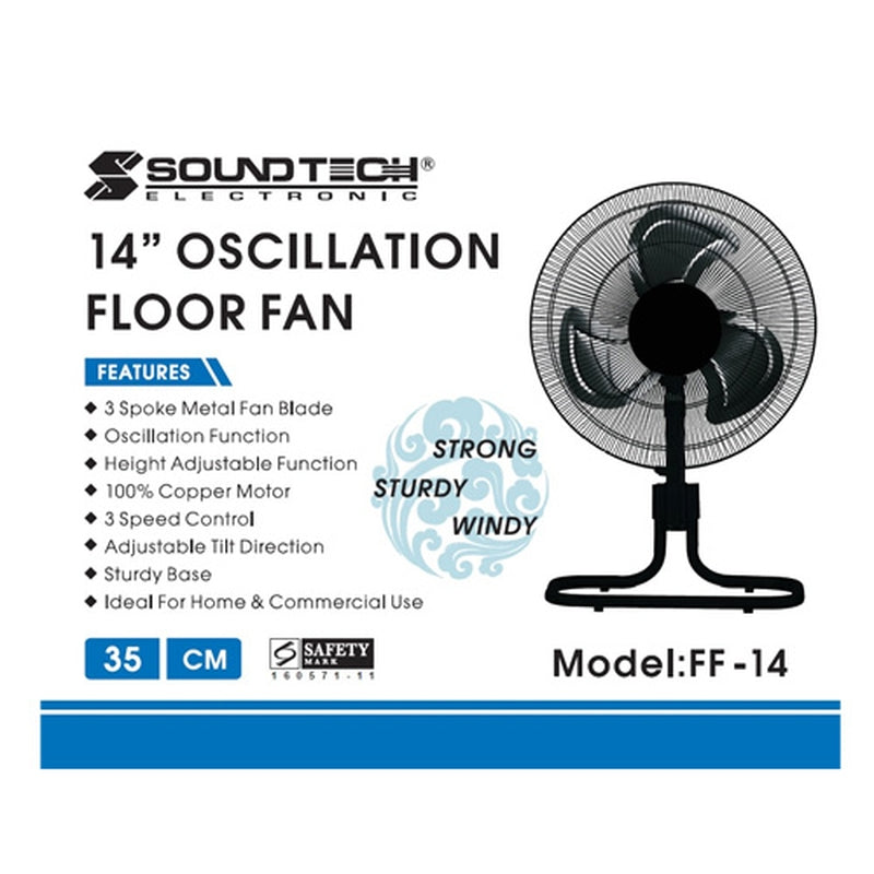 "Featured Product Photo for Soundteoh 14"" Oscillation Fan"